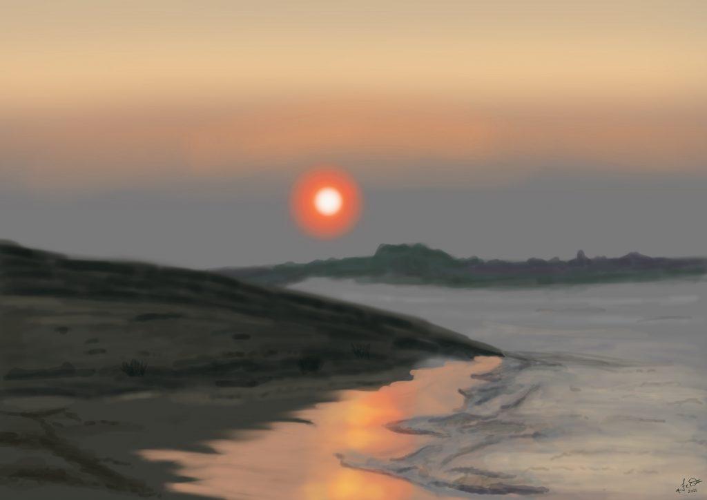Sunset At The Beach by Frank Deardurff