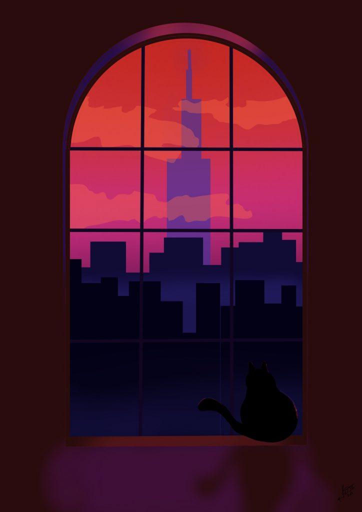 Cat in the window - Art work by Frank Deardurff